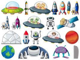 Conjunto de objetos y elementos espaciales aislados sobre fondo blanco.