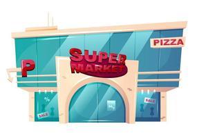 edificio frontal del supermercado vector