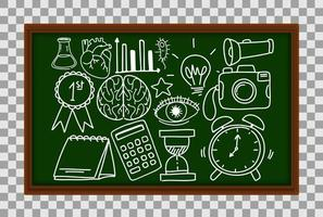 Different doodle strokes about science equipment on chalkboard on transparent background vector