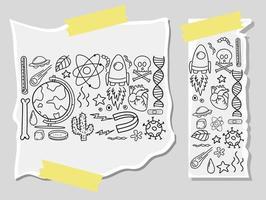 Diferentes trazos de garabatos sobre equipos científicos en un papel. vector