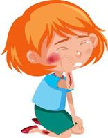 Girl injured at cheek and arm cartoon character isolated on white background vector
