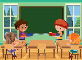 Young student doing magnet experiment in the classroom scene