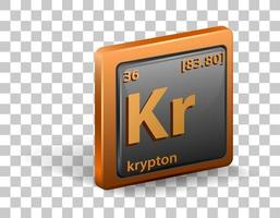 Krypton chemical element. Chemical symbol with atomic number and atomic mass.