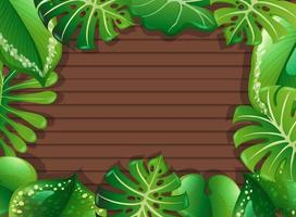 Top view of blank wooden table with leaves elements vector