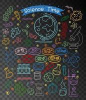conjunto de elementos de ciencia doodle aislado sobre fondo transparente