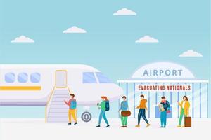 evacuación de emergencia en avión vector