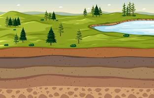 Nature scene landscape with soil layers vector
