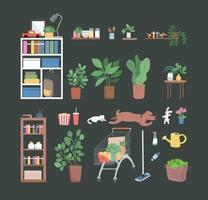 Household objects set vector