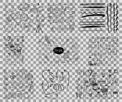 conjunto de objetos y símbolos doodle dibujados a mano sobre fondo transparente vector