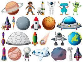 Conjunto de objetos y elementos espaciales aislados sobre fondo blanco. vector