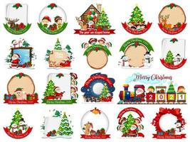 Set of blank Christmas card template isolated on white background vector