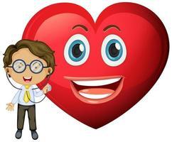 Emoticon de corazón feliz con un personaje de dibujos animados de doctor vector