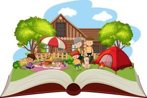 familia feliz acampando en el jardín