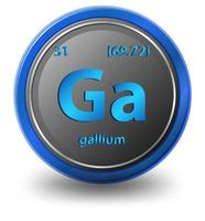 Gallium chemical element. Chemical symbol with atomic number and atomic mass.