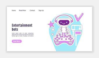Entertainment bots landing page vector