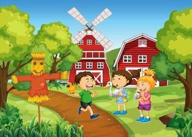 escena con muchos niños en la granja. vector