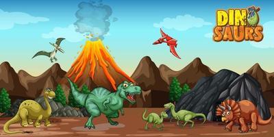 personaje de dibujos animados de dinosaurios en la escena de la naturaleza vector