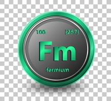 Fermium chemical element. Chemical symbol with atomic number and atomic mass.