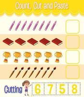 contar, cortar y pegar la hoja de cálculo de matemáticas para niños vector