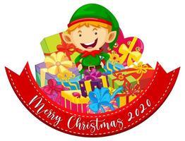 Feliz Navidad 2020 banner de fuente con lindo elfo y muchos regalos sobre fondo blanco.