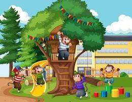 cinco monitos saltando en la escena del patio del parque