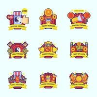 Set of Chinese New Year Marketing Kit Label vector