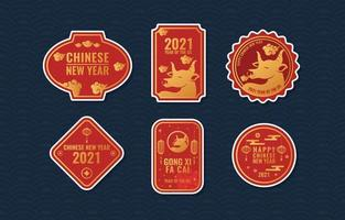 Year Of The Ox Labels Collection vector