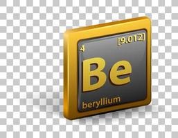 Beryllium chemical element. Chemical symbol with atomic number and atomic mass.