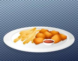 Nuggets and chips on plate vector