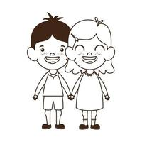 Silhouette of couple baby standing smiling vector