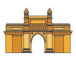 Edification of gateway of India isolated icon vector