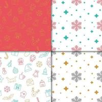 Winter holiday patterns with snowflakes and Christmas elements