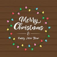Marco de luz de navidad con letras sobre fondo de madera
