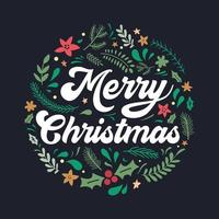 Christmas lettering design with decorations