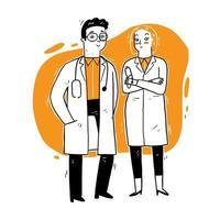 Doctors standing and talking vector