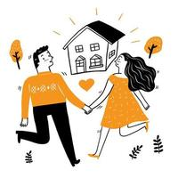 Lovers walk hand in hand to their house vector