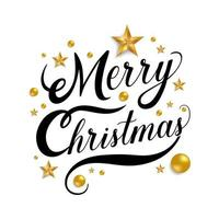 Merry Christmas lettering with golden stars and balls vector