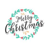 Christmas lettering design with wreath decoration