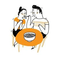 Couple eating dinner vector