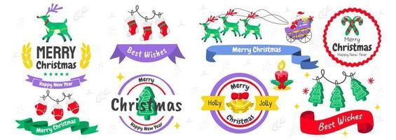 conjunto de elementos y emblemas navideños