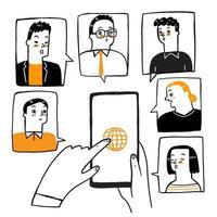 concepto de doodle de videoconferencia