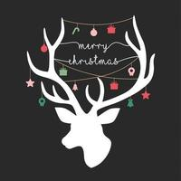 Christmas card with reindeer silhouette, typography and Christmas icons