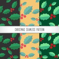 Winter holiday pattern with holly vector