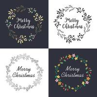 Christmas wreath with floral decoration and lettering set vector