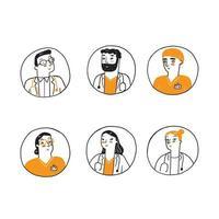 personal de la clínica médica doodle avatares vector