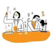 investigadores químicos con equipo de laboratorio vector
