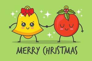 campana y bola de navidad kawaii