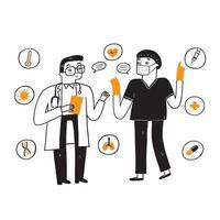 Two doctors are discussing how to treat the disease vector