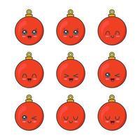 colección de conjunto de caracteres de bola roja de navidad