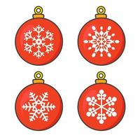 Red Christmas balls set with snowflakes